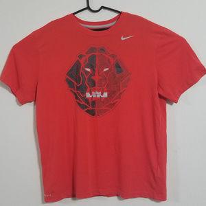 Nike DriFit Mens XL Red Bionic Leopard T Shirt Tee
